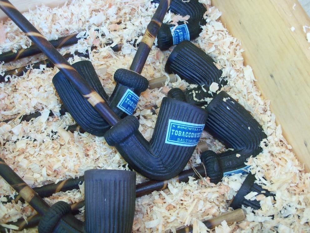 Clay Pipe, Burnt Reed Stem, Black